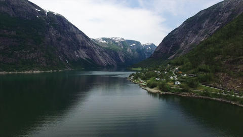 Scenic flight above Hardanger fjord in Norway, aerial footage Footage