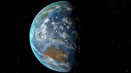 Night to day - rotating Earth. Zoom in on Indonesia outlined Animation