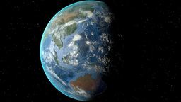 Night to day - rotating Earth. Zoom in on Laos outlined Animation