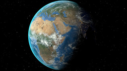 Night to day - rotating Earth. Zoom in on Libya outlined Animation