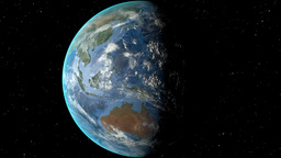Night to day - rotating Earth. Zoom in on Malaysia outlined Animation