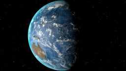 Night to day - rotating Earth. Zoom in on Papua New Guinea outlined Animation