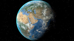 Night To Day - Rotating Earth. Zoom In On Romania Outlined stock footage