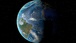 Night to day - rotating Earth. Zoom in on Suriname outlined Animation