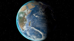 Night to day - rotating Earth. Zoom in on Swaziland outlined Animation