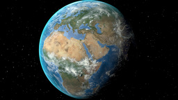 Night to day - rotating Earth. Zoom in on Switzerland outlined Animation