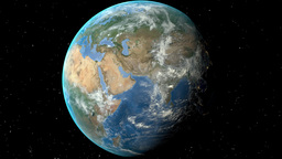 Night to day - rotating Earth. Zoom in on Ukraine outlined Animation