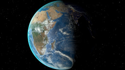 Night to day - rotating Earth. Zoom in on Zambia outlined Animation