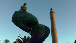 Spain The Canary Islands Gran Canary 027 Maspalomas Lighthouse And Sea Monster stock footage