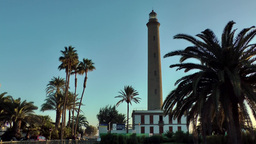 Spain The Canary Islands Gran Canary 026 El Oasis palm trees and lighthouse Footage