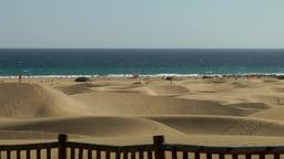 Spain The Canary Islands Gran Canary 021 Maspalomas Beach Behind Dunes stock footage