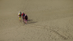 Spain The Canary Islands Gran Canary 010 people walk on dunes Footage
