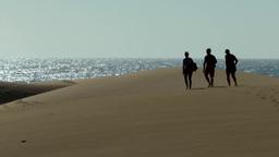 Spain The Canary Islands Gran Canary 004 three men on dunes of Maspalomas Footage