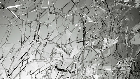 Broken and damaged glass slow motion. Alpha matte Animation