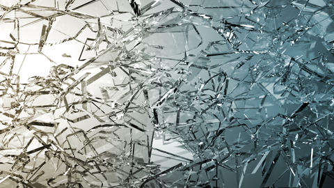 Broken and damaged glass slow motion. Alpha matte Stock Video Footage