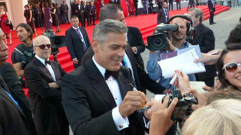 George Clooney Venice red carpet Footage