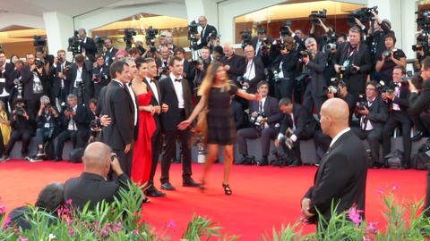 Gravity Bullock Clooney Cuaron Venice red carpet Footage