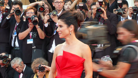 Sandra Bullock Venice red carpet Footage