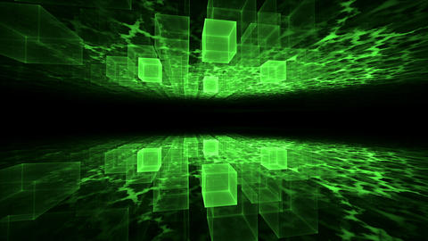 Dynamic Green Translucent Cubical Horizon with Plasma Clouds Animation