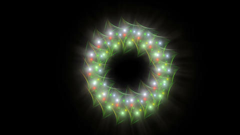 Radiant Christmas wreath made from baubles of different sizes, festive backgroun Animation