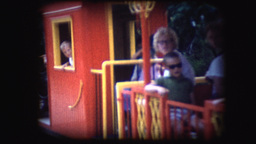 Vintage 8mm Footage Of A Miniature Train Ride stock footage