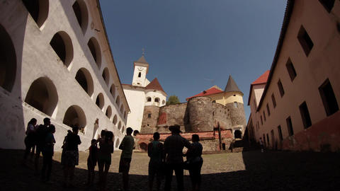 Average yard of Mukachevo castle Palanok under the clear blue sky on a summer da Footage
