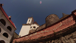 Mukachevo Castle Palanok Under The Clear Blue Sky On A Summer Day Medieval Fortr stock footage