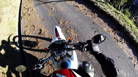 Helmet view. Start of the motor cycle Footage