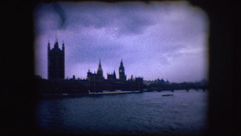 Vintage 8mm Footage Of The Palace Of Westminster stock footage