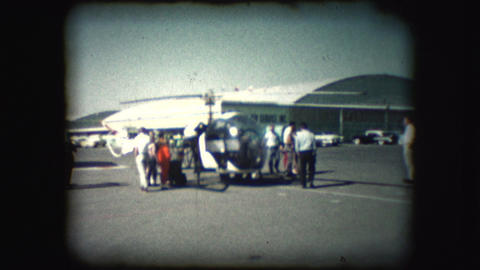 Vintage 8mm footage of a helicopter at an airshow Footage