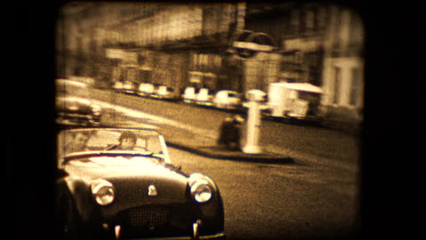 Two Views Of A TR2 Triumph Sports Car stock footage
