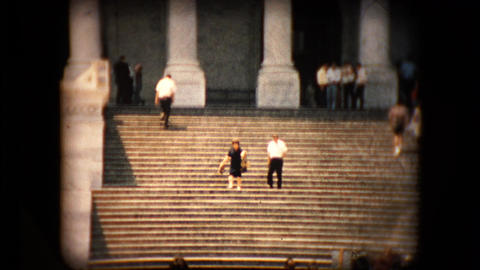 View of the United States Capitol building steps in the mid 1960's Footage
