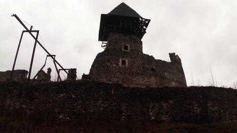 Medieval Nevitsky Castle In The Rain 7 stock footage