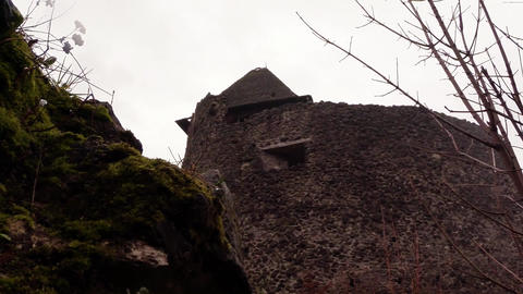 Ruins of an ancient castle under the rain 2 Footage