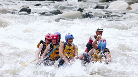Extreme White Water River Rafting Sports Footage