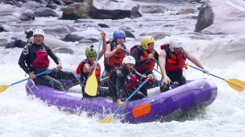 adrenaline intensive whitewater rafting slow motion Footage