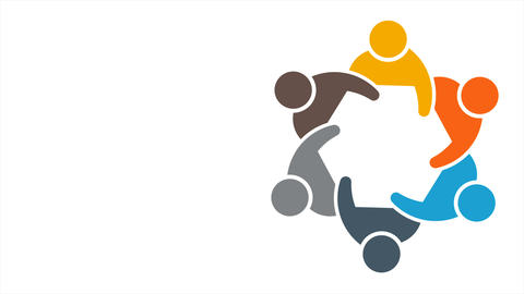 Teamwork People Group of Six, Coming Together to Meeting. 4K Motion Graphic Animation