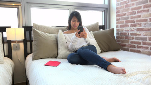 Fun And Relaxation For Happy Asian Woman Girl Texting Message Footage