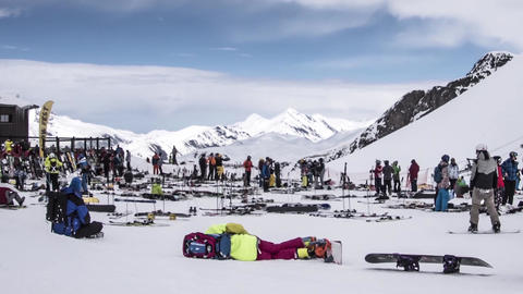 Timelapse panoramic ski slopes are snowed and means of transport that lead to th Footage