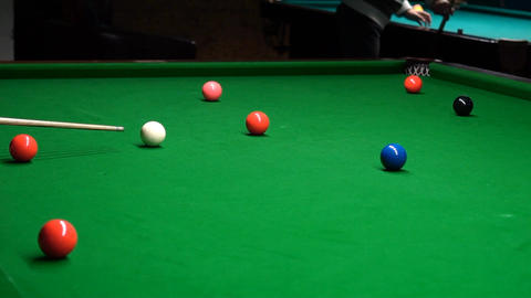 A Snooker Player Hitting The Ball And Misses It Slow Motion Footage