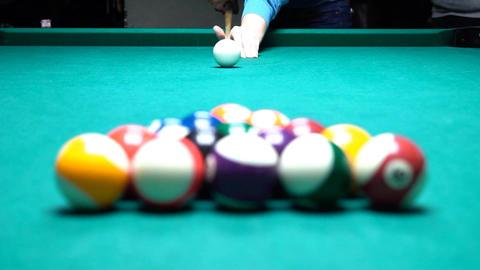 Pool Spread On Billiards Table Slow Motion Footage
