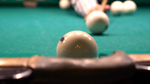 Russian Billiards, Ball Gets In The Pocket Slow Motion Footage
