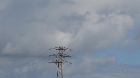 High Voltage Power Line Clouds Footage