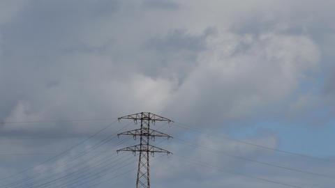 High Voltage Power Line Clouds Footage