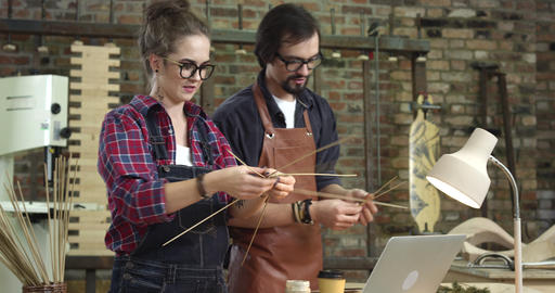 The Wickerwork Product are Created in a Creative Workshop Footage