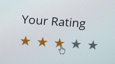 Computer Screen Rating Five Stars Closeup Footage