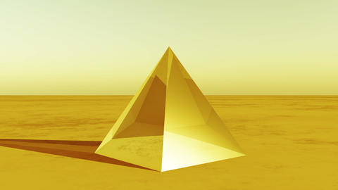 4K rotation glass pyramid from sky to ground in the wilderness,Sci-fi world Live Action
