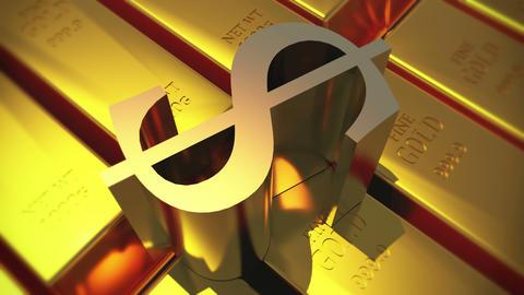 4k Gold bullion & rotate dollar symbol,wealth Ingot luxury finance goods Footage