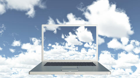 4k Cloud Computer Data Storage,Laptop play video of time lapse clouds,blue sky Live Action