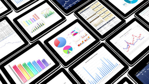 4k Mobile devices,finance pie charts & stock trend diagrams in the ipad Live Action